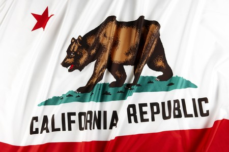 close up shot of wavy state flag of California photo