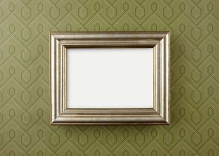 Decorative wall frame shot on vintage geometric wallpaper