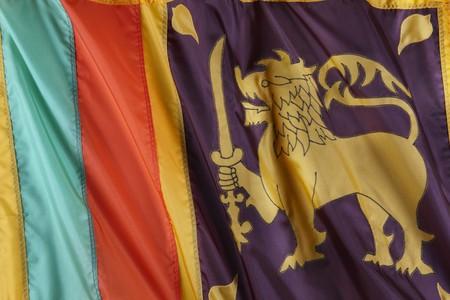 Close up shot of wavy flag of Sri Lanka