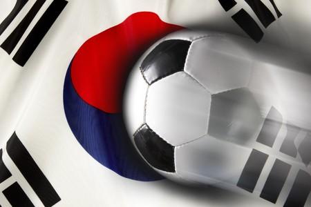 streaks: Soccer ball streaks across wavy Korean flag