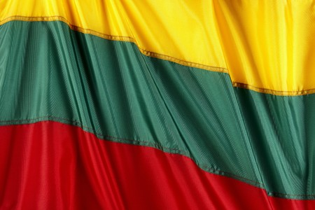 Close up shot of flag of Lithuania