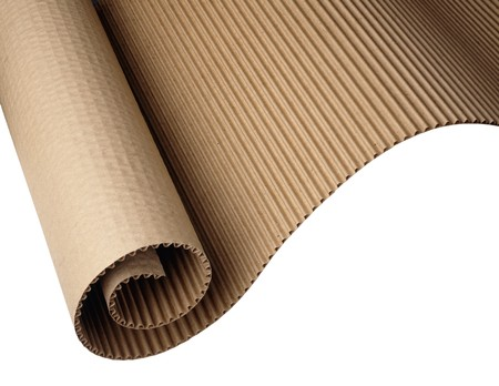Wavy corrugated paper shot on white background, hi res scan from film