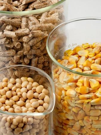 macro shot of corn, soybeans and wood pellets in glass beakers