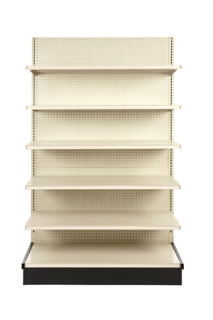 racks: Empty retail store shelf shot in studio and silhouetted Stock Photo