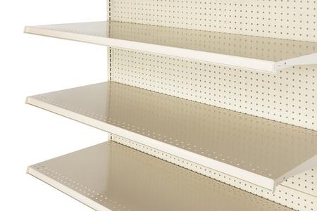 mensole: Dettaglio della mensola di negozio al dettaglio vuoto girato in studio e stagliano