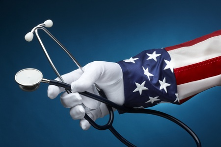 Uncle Sam holding a stethescope