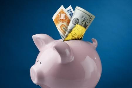 bonds: Close up of piggy bank with stocks, bonds, cash and gold Stock Photo