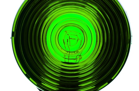Extreme close up of lens from an illuminated Green light 版權商用圖片