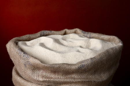 Burlap bag filled with sugar cane, includes space for copy Stock Photo