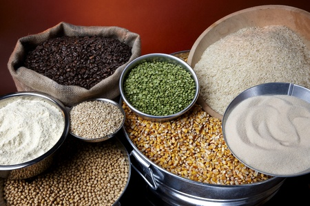 Still life shot of agricultural commodities such as grains and beans Stock Photo