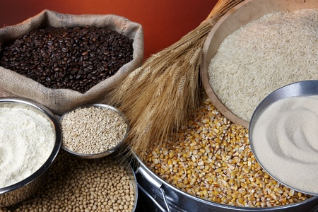 Still life shot of agricultural commodities including various grains and beans