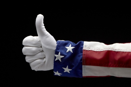 blue gloves: Close up shot of Uncle Sam giving the Thumbs Up sign Stock Photo