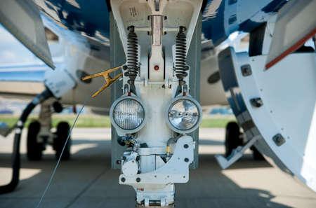 landing light: Private jet Stock Photo
