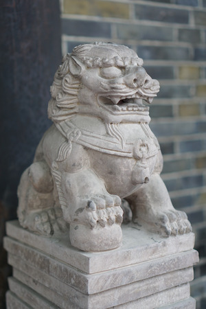 demure: Lions statues  Stock Photo