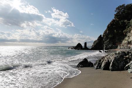 very windy: beautiful Coast near Alassio, Italy on a very windy day