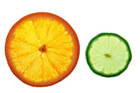 isolated slices of orange and lemon Stock Photo
