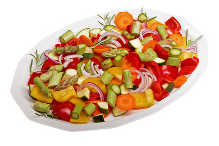 isolated sliced vegetables for a vegetable pan photo