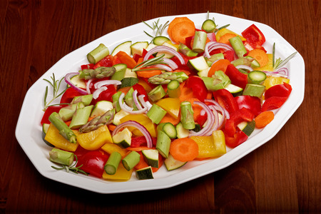 sliced vegetables for a vegetable pan photo