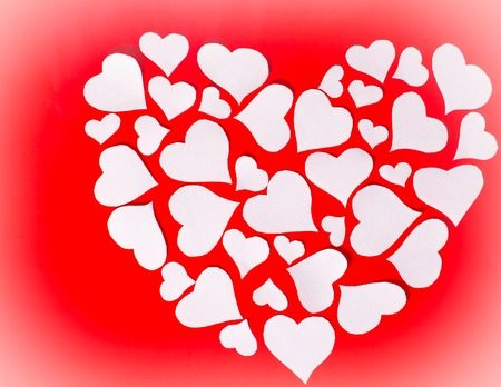 amor: Red background with white hearts for Valentines Day Stock Photo