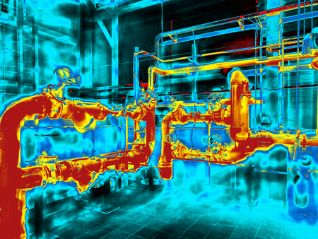 Thermogram imaging of the Engineering System. Colorful
