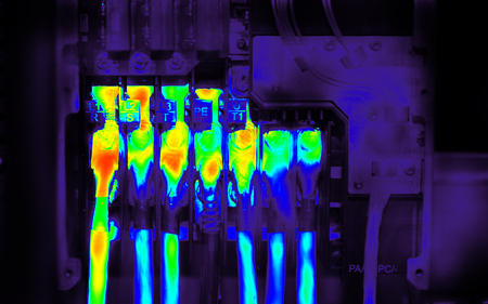 Industrial thermography. Thermal image of power electric wires Reklamní fotografie