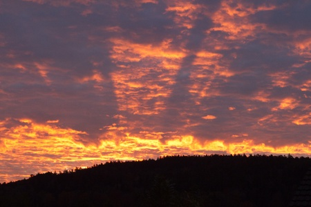 nightfall: Red Orange Sky in Jonschwil Switerland
