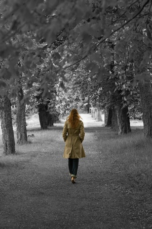 Mystical lady with long hair walking into a forest Stock Photo - 13767644