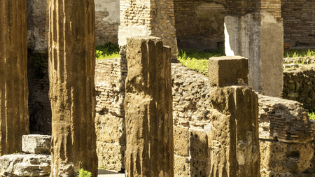 decadence: Columns in the ruins of Largo di torre argentina Rome Stock Photo