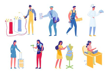 People Characters Working in Different Profession.