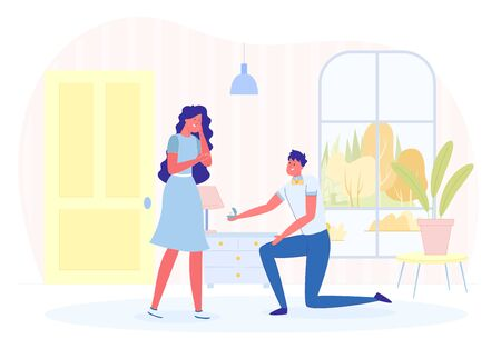 Man Making Marriage Proposal to Woman in Room. Illustration