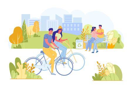 Paare, die Fahrräder im Park reiten, gute Zeit verbringen.