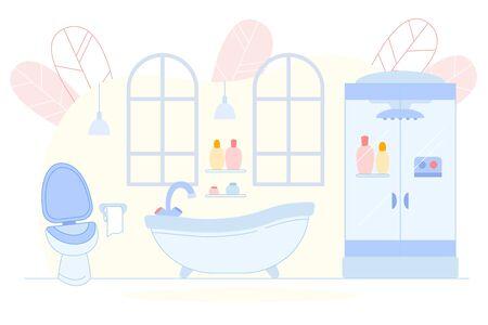 Modern Bathroom Interior with Bath Tub, Toilet.
