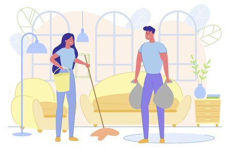 Man and Woman Characters Doing Household Chores. Vettoriali
