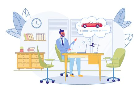 Manager Sitting in Office Choosing New Car in Internet. Hipster Businessman Using Application with Choice of Different Vehicles on Mobile Phone. Man Buying Cabriolet Cartoon Flat Vector Illustration