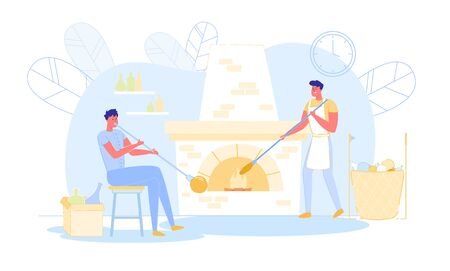 Couple of Men Glass Blowers Create Beautiful Craft Production of Molten Glass. Masters Working in Workshop with Burning Stove Put Molten Material in Fire Forming Arts. Cartoon Flat Vector Illustration