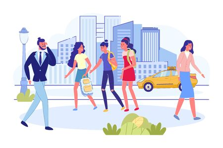 Crowd of People on City Avenue. Smiling Teens Girls Students with Backpack Walking and Talking Together. Busy Man Holding Mobile Phone. Urban Street, Taxi Car on Road Background. Modern Flat Vector Illustration