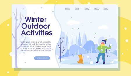 Time for Winter Outdoor Activities Landing Page 向量圖像