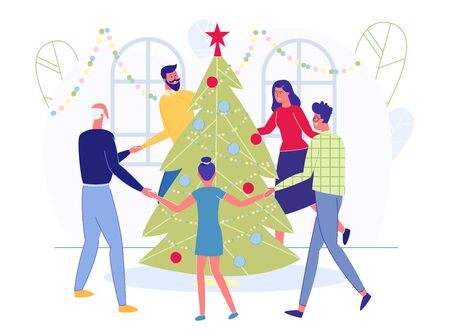 Big Happy Family Dance Round Christmas Tree at Winter Holidays Celebration. Parents Grandfather and Kids Holding Hands near Spruce, People Celebrating New Year at Home Cartoon Flat Vector Illustration  イラスト・ベクター素材