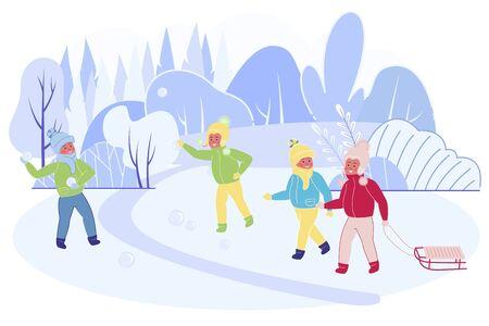 Battaglia a palle di neve tra squadre di amici. Happy Children Company in vestiti caldi combattono con palle di neve sulla strada durante le vacanze invernali. Attività di vacanze di Natale. Cartoon piatto illustrazione vettoriale