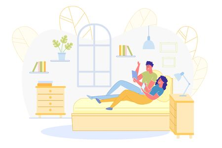 Informational Banner, Boy and Girl Relaxing Home. Young Couple is Relaxing Together in Bedroom. They are Lying next to them Bed and Using their Electronic Devices. Room there are Bookshelves.  イラスト・ベクター素材