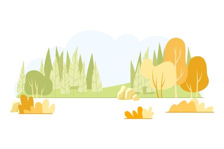 Typical Hilly Field Landscape, Cartoon Slide. Rocky Landscape Forest Belt. Natural Complex Glade with Undisturbed Structure. Fresh Trees and Bushes in Fall Season. Vector Illustration.