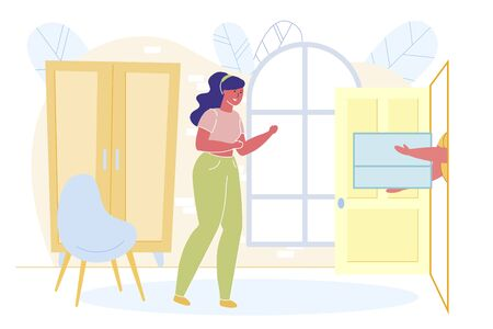 Happy Woman Getting Purchase from Internet Shop Flat Cartoon Vector Illustration. Ordering Clothes in Online Store. Delivery Man Giving Boxes with Clothing. Doing Shopping at Home.