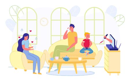 Family Doing Different Activities in Living Room Flat Cartoon Vector Illustration. Mother Reading Letter, Father Talking on Mobile Phone, Son Playing Video Games on Play Station. Horror Scene.