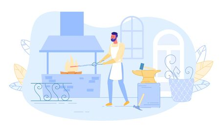 Young Blacksmith Master Working in Forge with Anvil and Professional Stuff around Put Piece of Metal Blank Part into Burning Stove for Making Craft Art Production. Cartoon Flat Vector Illustration