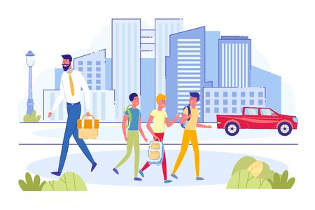 Group of Teens Boys with Backpack Walking on Sidewalk Together to or from School and Talking. Busy Businessman in Suit Hurry. Urban Street, Car on Road, City on Background. Modern Flat Vector Illustration