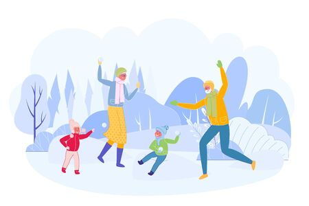 Grandparents Having Snowball Fight with Granddaughter and Grandson Flat Cartoon Vector Illustration. People Wearing Warm Clothes in Winter Time. Active Leisure with Children. Snowy Landscape.