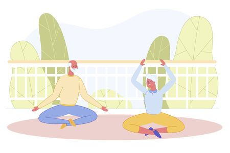 Senior Married Couple Doing Yoga at Home Open Terrace. Old Pair Relaxing while Sitting in Lotus Pose. Aged Man and Elderly Woman Meditating in Padmasana Position. Cartoon Flat Vector Illustration