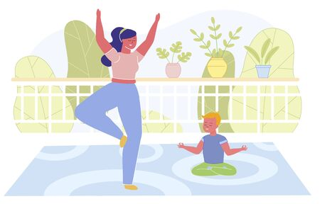 Flat Banner, Yoga Homework with Son, Cartoon. Woman Teaches Child from Childhood to Meditate and Relax. They are Located on Soft Carpet on Terrace. Behind them are Tall Dense Trees.