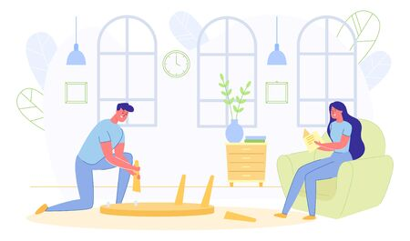 Happy Family Everyday Routine. Man Fixing Broken Table and Woman Sitting in Armchair Reading Book. Married Couple Spending Time Together at Home. Love, Relations. Cartoon Flat Vector Illustration