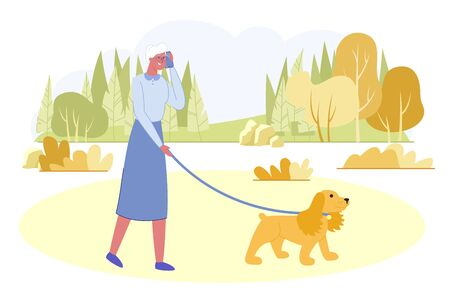 Active Senior Woman Walking with Dog in City Park at Summer Time. Granny Relaxing with Pet on Nature Landscape Background. Outdoor Promenade, Healthy Walk Activity. Cartoon Flat Vector Illustration
